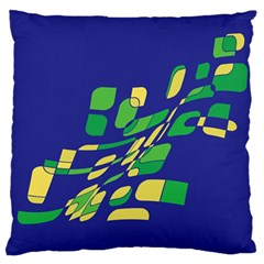Blue Abstraction Standard Flano Cushion Case (one Side) by Valentinaart