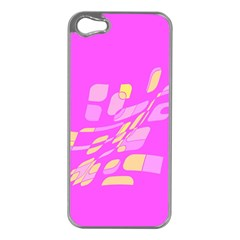 Pink Abstraction Apple Iphone 5 Case (silver) by Valentinaart