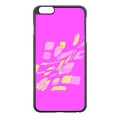 Pink Abstraction Apple Iphone 6 Plus/6s Plus Black Enamel Case by Valentinaart