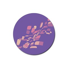 Purple Abstraction Rubber Round Coaster (4 Pack)