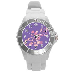 Purple Abstraction Round Plastic Sport Watch (l) by Valentinaart
