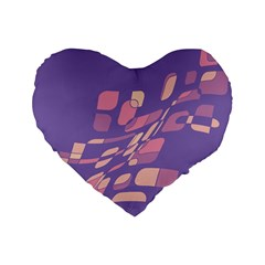 Purple Abstraction Standard 16  Premium Heart Shape Cushions by Valentinaart