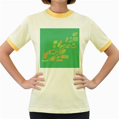 Green Abastraction Women s Fitted Ringer T-shirts by Valentinaart