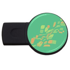 Green Abastraction Usb Flash Drive Round (2 Gb)  by Valentinaart