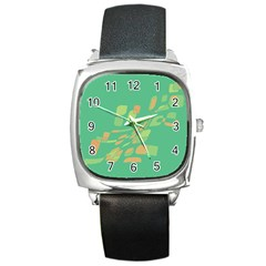 Green Abastraction Square Metal Watch by Valentinaart