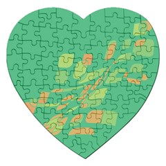 Green Abastraction Jigsaw Puzzle (heart) by Valentinaart