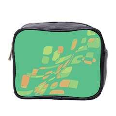 Green Abastraction Mini Toiletries Bag 2 Side by Valentinaart