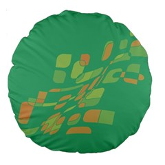 Green Abastraction Large 18  Premium Round Cushions by Valentinaart