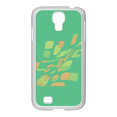 Green Abastraction Samsung Galaxy S4 I9500/ I9505 Case (white) by Valentinaart
