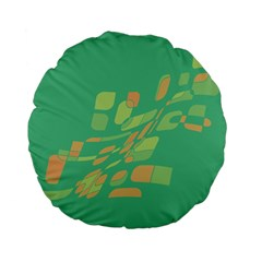 Green Abastraction Standard 15  Premium Flano Round Cushions by Valentinaart