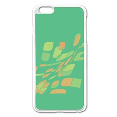 Green Abastraction Apple Iphone 6 Plus/6s Plus Enamel White Case by Valentinaart