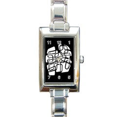 White Abstraction Rectangle Italian Charm Watch by Valentinaart