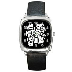 White Abstraction Square Metal Watch by Valentinaart
