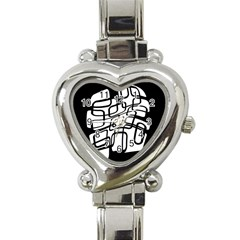 White Abstraction Heart Italian Charm Watch by Valentinaart
