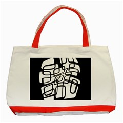 White Abstraction Classic Tote Bag (red) by Valentinaart