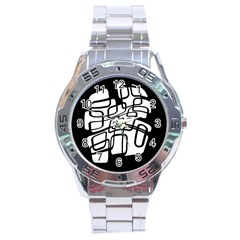 White Abstraction Stainless Steel Analogue Watch by Valentinaart