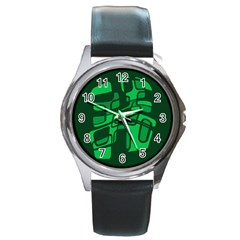 Green Abstraction Round Metal Watch by Valentinaart