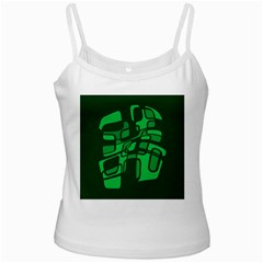 Green Abstraction White Spaghetti Tank by Valentinaart