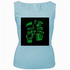 Green Abstraction Women s Baby Blue Tank Top by Valentinaart