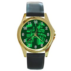 Green Abstraction Round Gold Metal Watch by Valentinaart