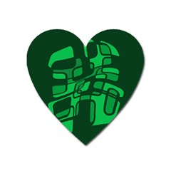 Green Abstraction Heart Magnet by Valentinaart