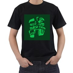 Green Abstraction Men s T-shirt (black) (two Sided)