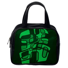 Green Abstraction Classic Handbags (one Side) by Valentinaart