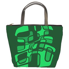 Green Abstraction Bucket Bags by Valentinaart