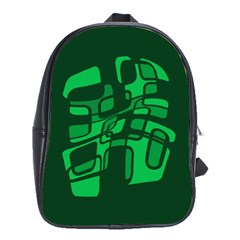 Green Abstraction School Bags(large)  by Valentinaart