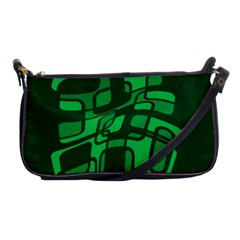 Green Abstraction Shoulder Clutch Bags by Valentinaart