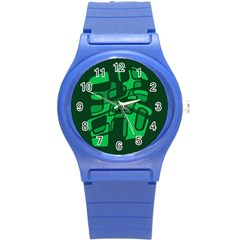 Green Abstraction Round Plastic Sport Watch (s) by Valentinaart