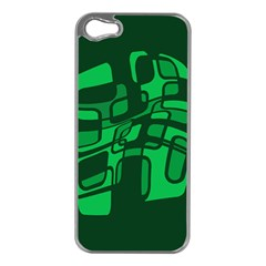 Green Abstraction Apple Iphone 5 Case (silver) by Valentinaart