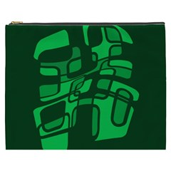 Green Abstraction Cosmetic Bag (xxxl)  by Valentinaart