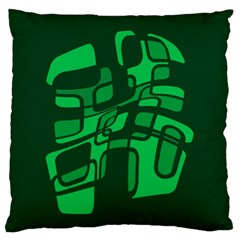 Green Abstraction Large Flano Cushion Case (one Side) by Valentinaart