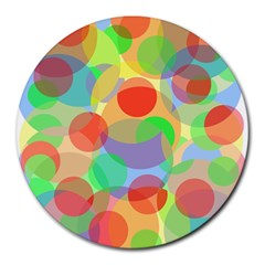 Colorful Circles Round Mousepads by Valentinaart