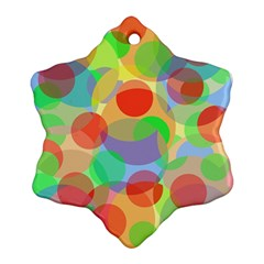 Colorful Circles Snowflake Ornament (2 Side) by Valentinaart
