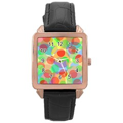 Colorful Circles Rose Gold Leather Watch  by Valentinaart