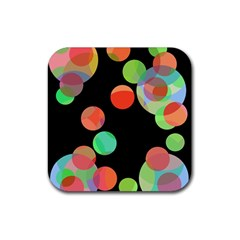 Colorful Circles Rubber Coaster (square)  by Valentinaart