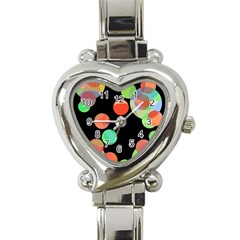 Colorful Circles Heart Italian Charm Watch by Valentinaart
