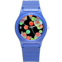 Colorful Circles Round Plastic Sport Watch (s) by Valentinaart