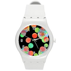 Colorful Circles Round Plastic Sport Watch (m) by Valentinaart