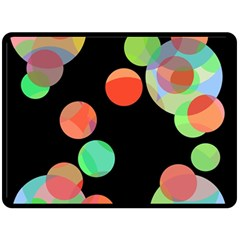 Colorful Circles Double Sided Fleece Blanket (large)  by Valentinaart