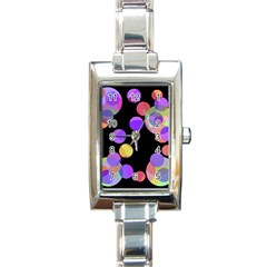 Colorful Decorative Circles Rectangle Italian Charm Watch by Valentinaart