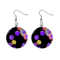 Colorful Decorative Circles Mini Button Earrings by Valentinaart