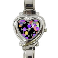 Colorful Decorative Circles Heart Italian Charm Watch by Valentinaart