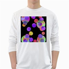 Colorful Decorative Circles White Long Sleeve T-shirts by Valentinaart