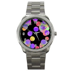 Colorful Decorative Circles Sport Metal Watch by Valentinaart
