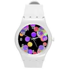 Colorful Decorative Circles Round Plastic Sport Watch (m) by Valentinaart
