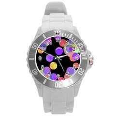Colorful Decorative Circles Round Plastic Sport Watch (l) by Valentinaart