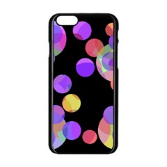 Colorful Decorative Circles Apple Iphone 6/6s Black Enamel Case by Valentinaart